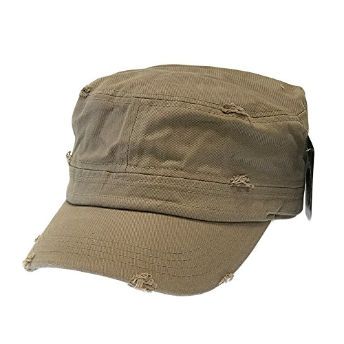 The Hat Jungle Vintage Army Cadet Castro Hat Military Cotton Plain Distressed Cap