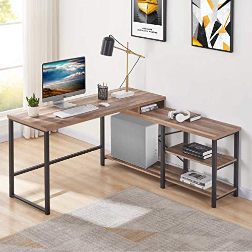 BON AUGURE L Shaped Corner Computer Desk, Rustic Wood and Metal Office Desk with Storage Shelves, Industrial Writing Table for Home Office (59 Inch, Rustic Oak)