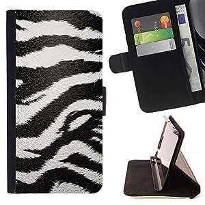 For Samsung Galaxy S4 Mini i9190 (NOT S4) Case , Modelo de la cebra Arte Negro White Stripes- la tarjeta de Crédito Slots PU Funda de cuero Monedero caso cubierta de piel