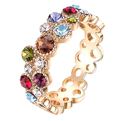 Yoursfs Cocktail Ring for Girl 18K Gold Plated Colorful Crystal Infinity Wedding Promise Rings for Brides