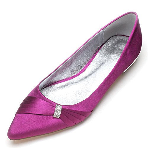 L@YC Damen Brautschuhe 5047-18 Heel Satin Closed Toe Schnalle Satin Abend Hochzeit Court Schuhe Purple