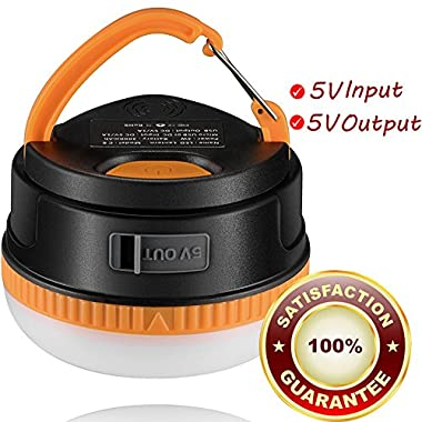 Rechargeable LED Camping Lantern, Vinsun® 3000mAh High Capacity Power Bank 5V Output, Brightest Tent Lantern, for Outdoor Backpacking, Camping, Hiking, Picnic, Tents, Emergency, Autos, Beach, Home