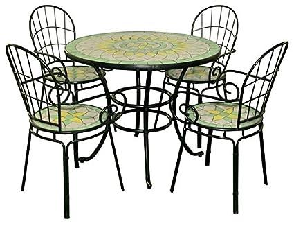 Tavolo Tondo 4 Sedie.Set Limonaia Tavolo Tondo 92xh72 Con Mosaico Con 4 Sedie