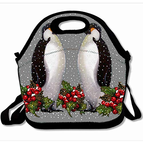 - Ahawoso Reusable Insulated Lunch Tote Bag Holiday Penguin Couple Snow Christmas Holly 10X11 Zippered Neoprene School Picnic Gourmet Lunchbox