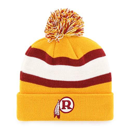 OTS NFL Washington Redskins Male Rush Down Legacy Cuff Knit Cap with Pom, Gold, One Size Big Logo Knit Cap