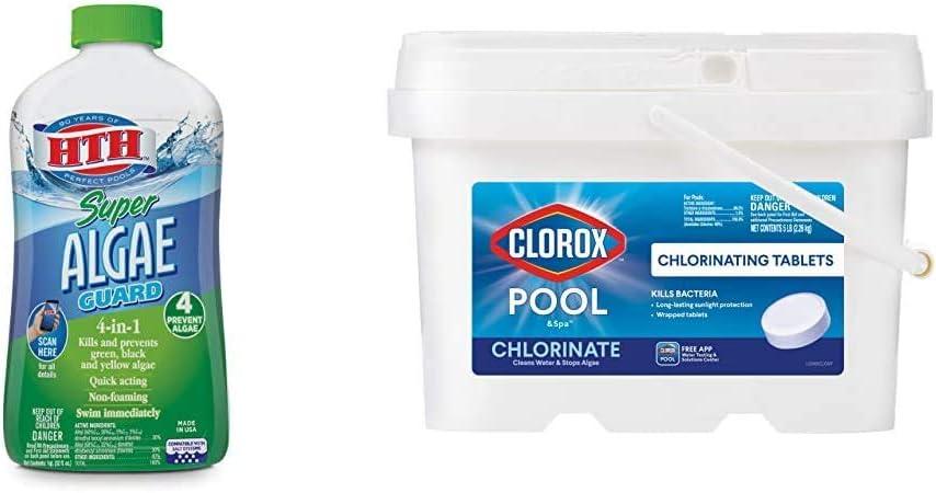 HTH 67032 Super Algae Guard Swimming Pool Algaecide Cleanser, 1 qt, Clear & Clorox Pool&Spa Active99 3