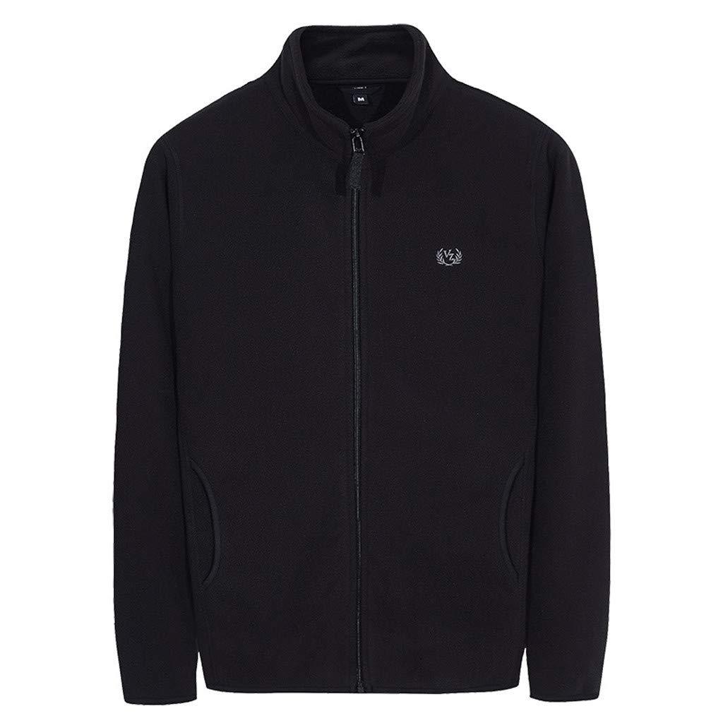 Men's Cardigan Jackets Simple Pure Color Coat Zipper Autumn Winter Cardigan Coats Black by ZhixiaYS