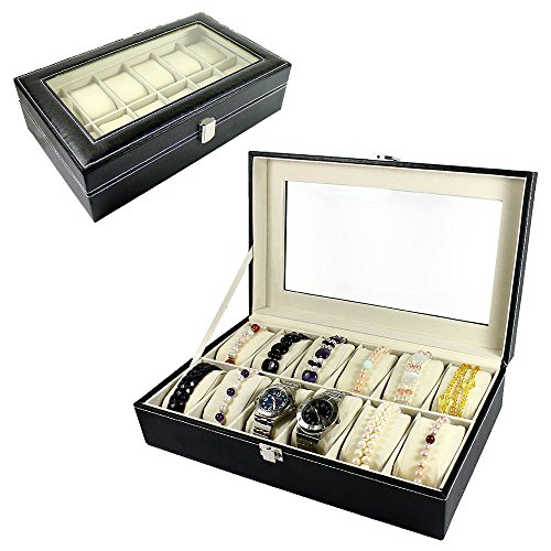 Watch Box and Jewelry Box 12 Compartment Organizer (Maroon) - 1