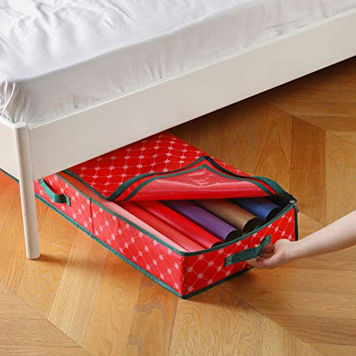 Seckon Christmas Wrapping Paper Storage Organizer [1 Pack], Gift Wrap Storage Boxes Container, Under Bed Storage…
