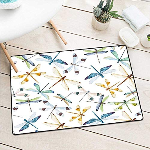 Custom&blanket Dragonflymoth Butterfly Like Bugs in Watercolor Print Modern Minimalist Decor Art Print Door Mat is Odorless and Durable (W15.7 X L23.6 inch,Multicolor)