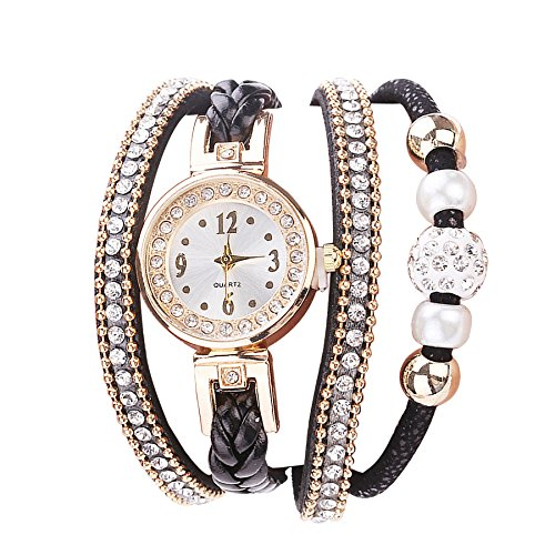 Relojes Pulsera Mujer, Moda Cuero Banda de Cuarzo analogico Redondo Reloj Relojes Kinlene Relojes (