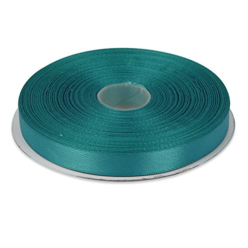 Topenca Supplies 1/2 Inches x 50 Yards Double Face Solid Satin Ribbon Roll, Aqua Blue]()