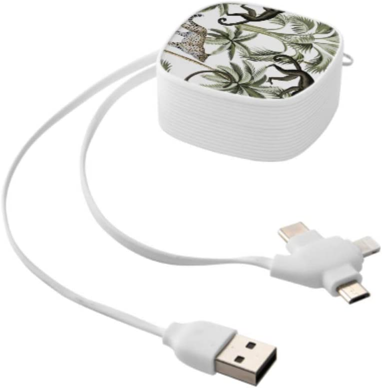 Multi Connection Charging Cable Tropical Vivid Monkey Palm Tree Multi 3 in 1 Retractable USB Cable Fast Charging Multi with Micro USB//Type C Compatible with Cell Phones Tablets and More
