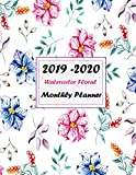 2019 - 2020 Watercolor Floral Monthly Planner: 12