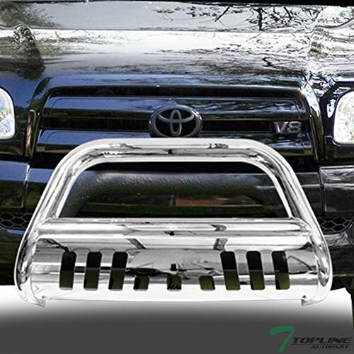 Topline Autopart Polished Stainless Steel Bull Bar Brush Push Front Bumper Grill Grille Guard With Skid Plate For 99/00-06 Toyota Tundra / 01-07 Sequoia