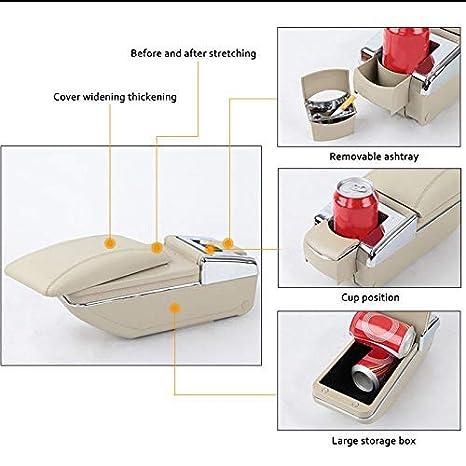 Universale Bracciolo Auto Centrale per Auto SUV Truck Console Centrale Automobile Appoggio in Pelle con Portacenere /& Portabicchieri Nero