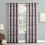 Sun Zero Darren Distressed Woven Jacquard Blackout Lined Grommet Curtain Panel, 50″ x 84″, Thistle Review