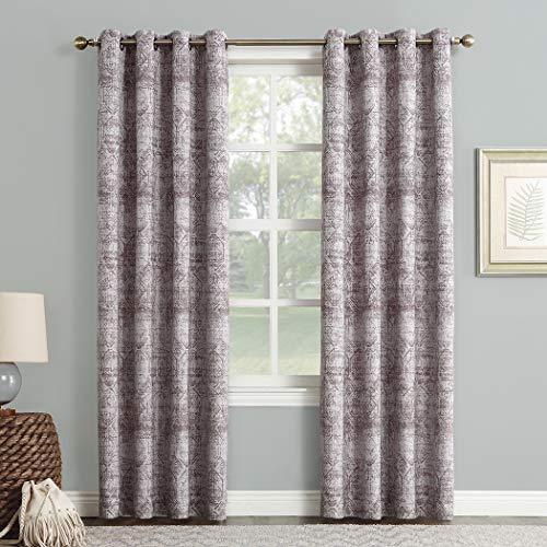 "Sun Zero Darren Distressed Woven Jacquard Blackout Grommet Curtain Panel, 50"" x 63"", Thistle"