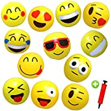 12 Emoji Beach Balls Inflatable 12'' with Air Pump - Pool Birthday Party Toys