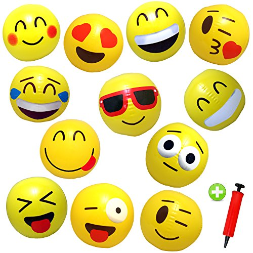 12 Emoji Beach Balls Inflatable 12'' with Air Pump - Pool Birthday Party Toys by Assortmart