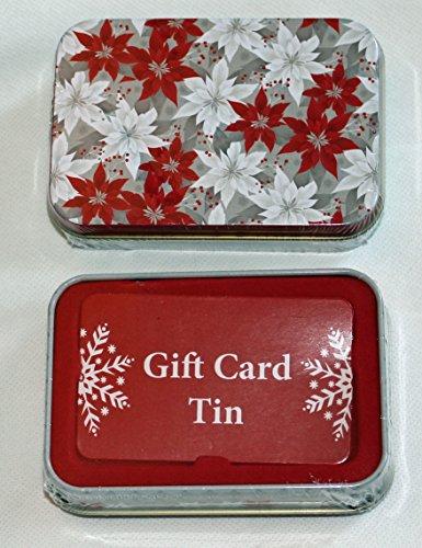Lindy bowman christmas holiday gift card tin box red and