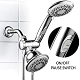 Hotel Spa Shower Head HotelSpa 30-setting Ultra-Luxury Spiral 3-way Combo with Pause Switch / Chrome