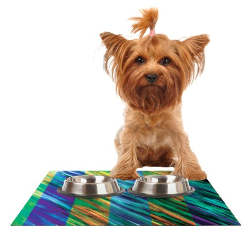 Kess InHouse Theresa Giolzetti Stripes II  Feeding Mat for Pet Bowl, 18 by 13-Inch