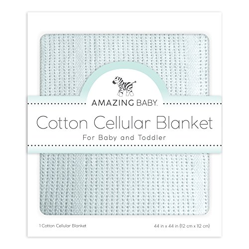 Cellular Blanket, Premium Cotton, Sunwashed (Blue Receiving Blanket)