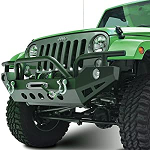 Restyling Factory Jeep Wrangler JK Black Textured Full Width Front Bumper with Fog Light Holes and Winch Plate