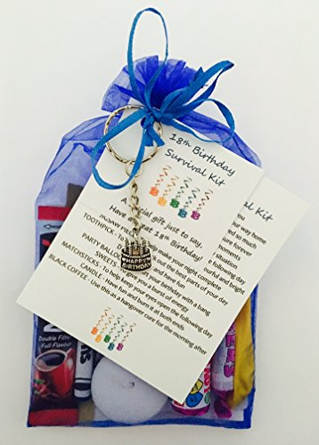 18th Birthday Survival Gift Kit Fun Happy Present For Him Her Choose From Lilac Or Blue Amazoncouk Office Products