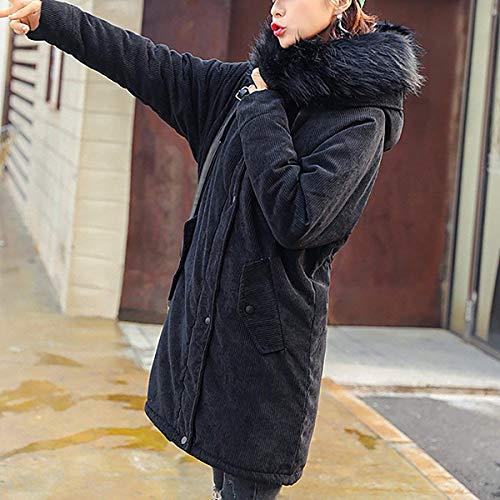 Bonne Avec Mode Manches Long Loisir Capuchon Chaud Hiver Schwarz Transition Manteau Qualité Parker Outerwear Chic De Large Parka Épaissir Fourrure Battercake Femme qB0xn6TSBP