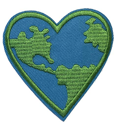 """Earth Heart 3"""" Embroidered Patch Iron-on or Sew-on Logo Souvenir Vacation Peace Planet Series Emblem Badge DIY Appliques Application Fabric Patches"""