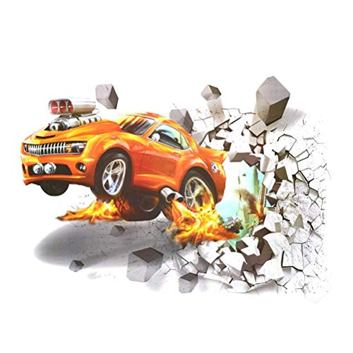 Wallpaper Childrens - 3D Removable Flying Fire Car Room Wall Decal Sticker Home Decor Srick Giant Wallpaper Mural Children Themed Art Wall Sticker 20x27.6 Inch