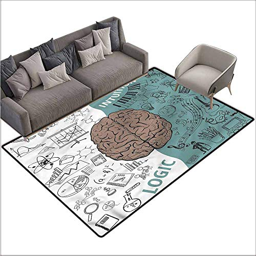 Polyester Non-Slip Doormat Rugs Colorful Modern,Music Logic Brain Art 64