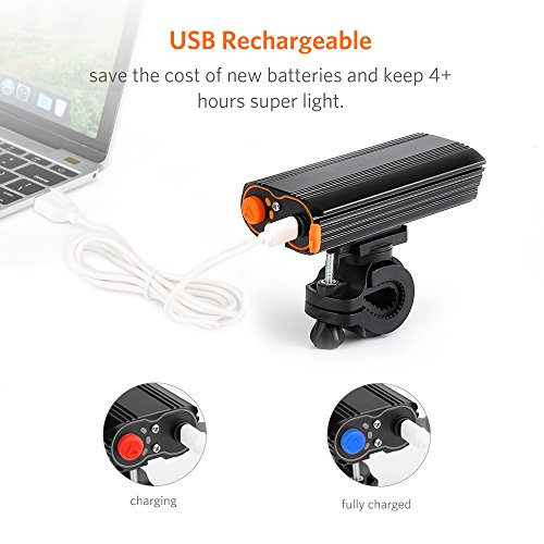 Thorfire Bike Lights, USB Rechargeable Led Bicycle Headlights 2000 Lumens Super Bright Water Resistant Cycling Lights, 4 Lighting Modes, Easy Install Bike Front Lights by Thorfire (Image #1)