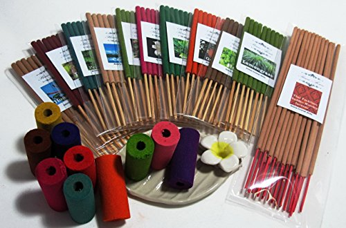 Incense Sticks Temple (Refreshed by the aromatherapy set, Thai tradition temple incense, 10 packs of 10 small smokeless aroma incense tube, 10 smokeless aroma incense cylinder & handmade ceramic Incense burner (FL64))