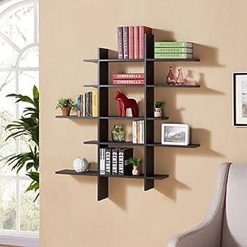 Danya B  Five Level Black Asymetric Wall Shelf. Amazon com  Danya B  Five Level Black Asymetric Wall Shelf  Home