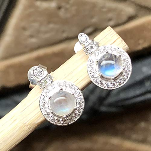 Natural Rainbow Moonstone, White Sapphire 925 Solid Sterling Silver Designer Stud Earrings 14mm long