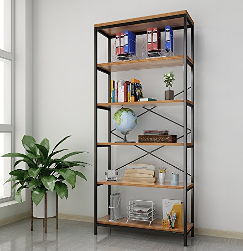 Tomasar 5-Tier Book Shelves Industrial Style Bookcase Metal and Wood Free Vintage Standing Storage Shelf Units (5-Tier) Review