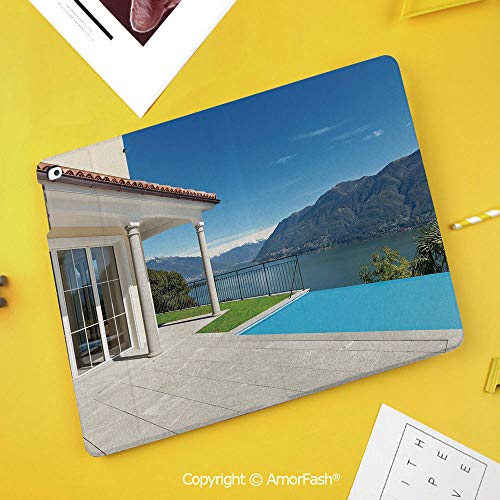 Printed Case for Samsung Galaxy Tab S4 10.5 SM-T830 T835 T837 Tablet Kids Safe,Italian Decor,Lake Maggiore Swedish Alps View Terrace of a House Mountains,White Blue and Sky Blue (Harga Samsung Galaxy Tab S3 7 Inch)