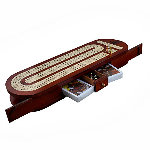 3 Track Cribbage Board Game Set with 12 Metal Pegs, 2 Decks Of Cards, 9 Metal Pegs With Storage by RoyaltyRoute