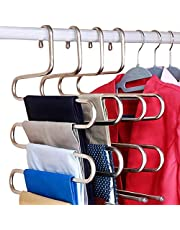 DOIOWN S-Type Stainless Steel Clothes Pants Hangers Closet Storage Organizer for Pants Jeans Scarf Hanging (14.17 x 14.96ins, Set of 3) (3-Pieces)