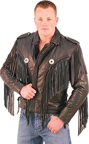 Mens Fringed Leather Motorcycle Jacket - 2