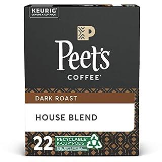 Peet's Coffee House Blend, Dark Roast, 22 Count Single Serve K-Cup Coffee Pods for Keurig Coffee Maker