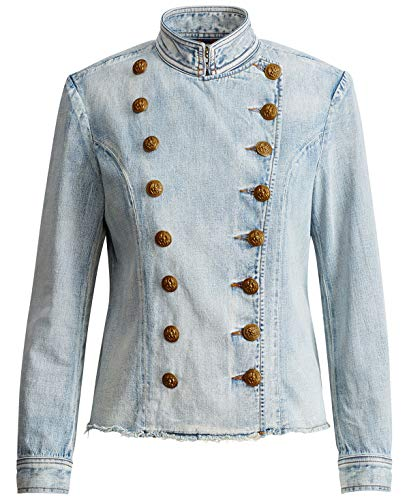 RALPH LAUREN Denim & Supply Women's Cotton Officer Jacket (Blue, Small)