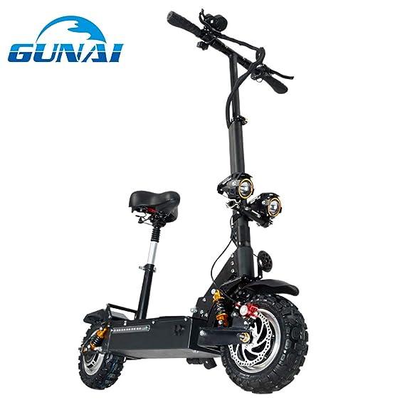 GUNAI Patinete Eléctrico Scooter Plegable con Manillar y Asiento Ajustable 3200W Velocidad Máxima de 85 km/h Scooter de Conmutación de 11 Pulgadas con ...