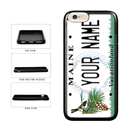 BleuReign(TM) Personalized Custom Name Maine State License Plate TPU RUBBER SILICONE Phone Case Back Cover For Apple iPhone 6 Plus and iPhone 6s Plus (5.5 Inches Screen)