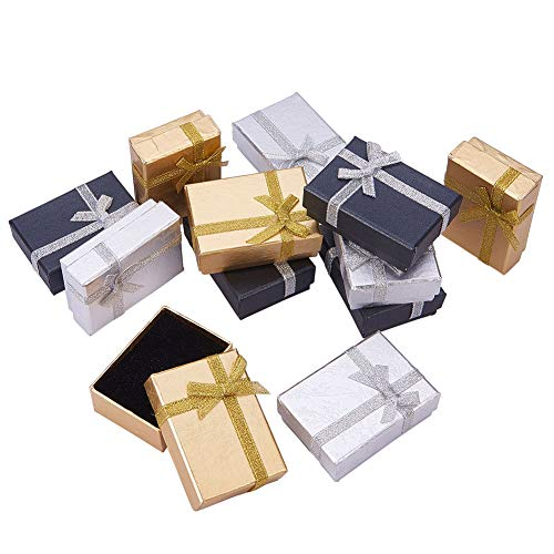 - PandaHall Elite 12 Pcs Cardboard Jewelry Gifts Boxes with Ribbon Bowknot 7x5x2.5cm for Jewelry, Rings, Necklaces, Bracelet, Earrings Packaging Box Mixed Color