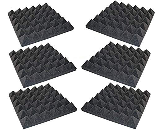 6 Pack - Acoustic Foam Sound Absorption Pyramid Studio Treatment Wall Panels, 2