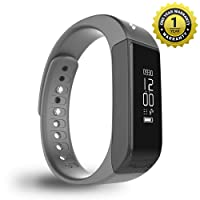 Mevofit Drive - Fitness Band and Activity Tracker Smartwatch with Water and Scratch Proof Touch Display Screen, Medium (Stone - Black)